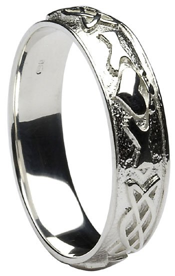 Celtic Knot Wedding Bands.Sterling Silver Claddagh Celtic Knot Wedding Band