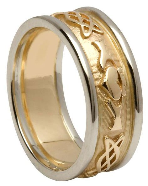 Gold Claddagh Celtic Knot Wedding Band with Rims