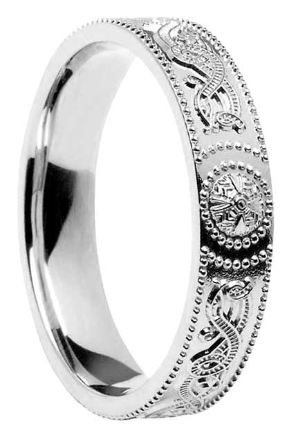 Sterling Silver Court Shape Celtic Shield Wedding Band