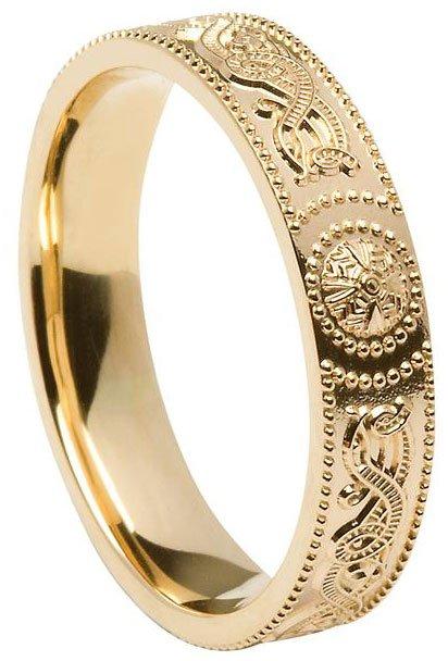 Gold Celtic Shield Wedding Band