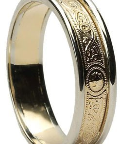 Narrow Celtic Shield Wedding Band with Rims