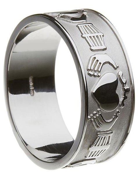 Sterling Silver Mens Extra Wide Claddagh Wedding Band