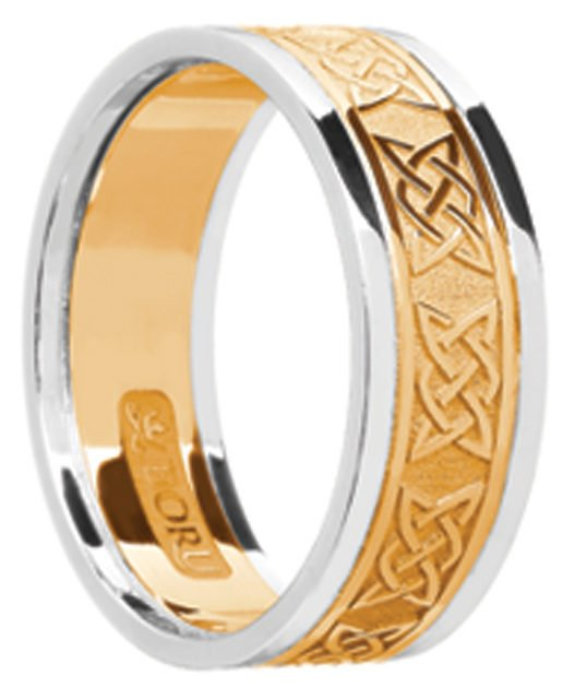 Two Tone Gold Celtic Lover's Knot Wedding Band