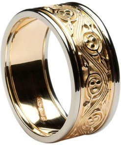 Celtic Triscele Wedding Band with Rims