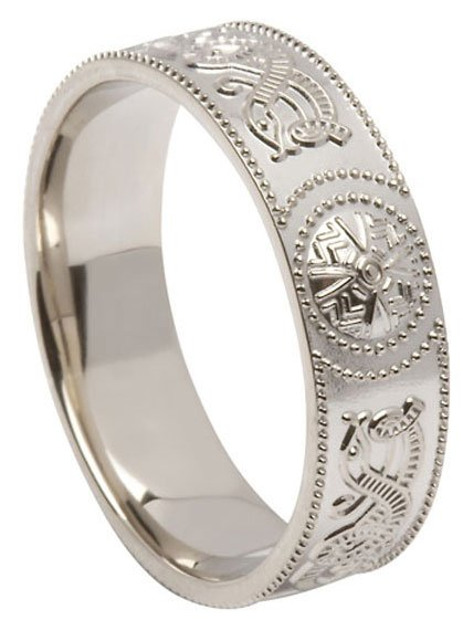 Sterling Silver Court Shape Celtic Shield Wide Band