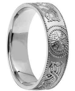 Wide Gold Celtic Shield Wedding Band
