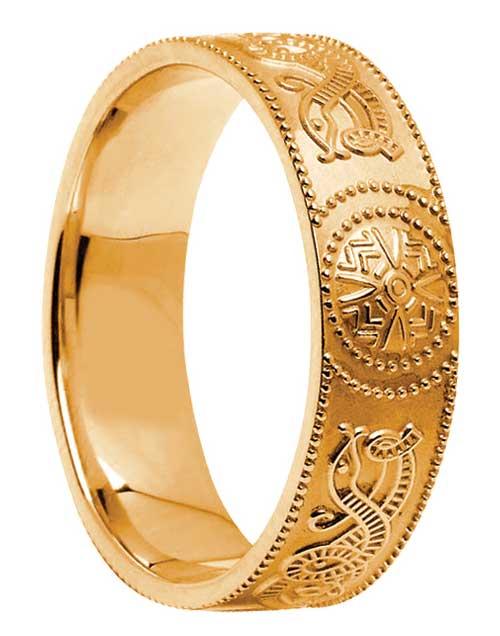 Wide Court-Shape Gold Celtic Shield Wedding Band