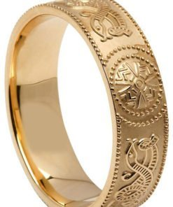 Wide Gold Celtic Shield Wedding Band