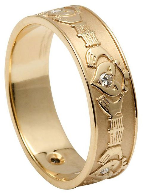 Ladies Gold Diamond Set Florentine Claddagh Ring