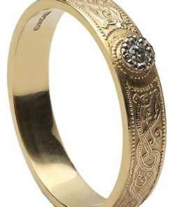 Ladies Diamond Set Celtic Shield Wedding Band