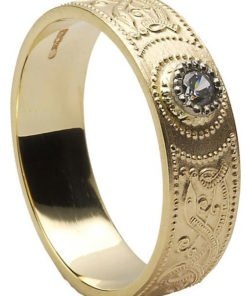 Diamond Set Gold Celtic Shield Wedding Ring