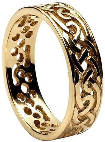 Filigree Wedding Band.Gold Celtic Knot Filigree Wedding Band