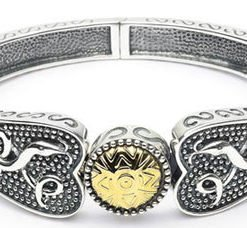Sterling Silver Bangle with 18k Gold Beading