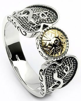 Sterling Silver Wood Quay Ring with 18k Gold Beading