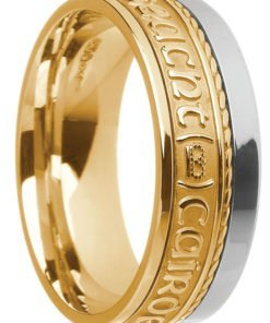 Two Tone Gold 'Gra Dilseact Cairdeas' Claddagh Band