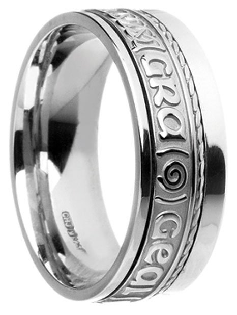 Gold 'Gra Gael Mo Chroi' Celtic Wedding Ring
