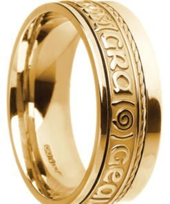 Gold 'Gra Gael Mo Chroi' Celtic Wedding Ring