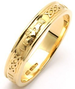 Gold Claddagh Wedding Band