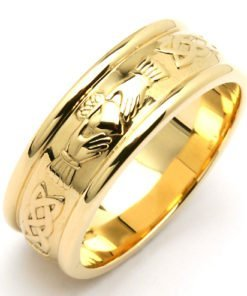 Wide Gold Claddagh Wedding Band