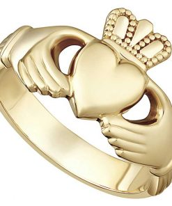 Men's Heavy Gold Claddagh Ring