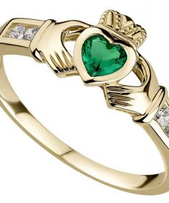10k Yellow Gold Emerald Heart Claddagh Ring