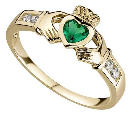 10k Yellow Gold Emerald Heart Claddagh Ring