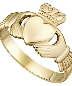 Gold Heavy Mens Claddagh Ring