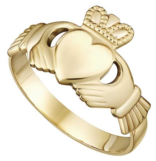 Gold Heavy Mens Claddagh Ring