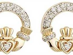 14k Gold Diamond Celtic Claddagh Stud Earrings