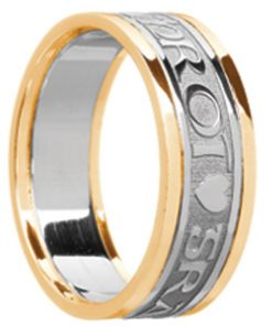 'Gra Gael Mo Chroi' Wedding Band with Rims