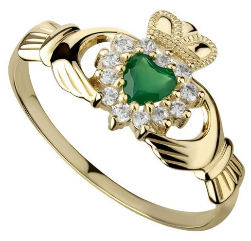 10k Yellow Gold Green Agate Claddagh Ring