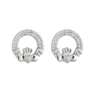 Sterling Silver with Cubic Zirconia Stone Setting Earrings
