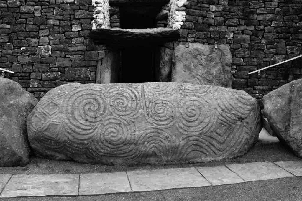Celtic Spiral decoration carved into the rock.