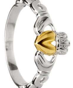 Ladies Silver Claddagh Ring with 10k Yellow Gold Center