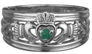 Emerald Silver Claddagh Ring