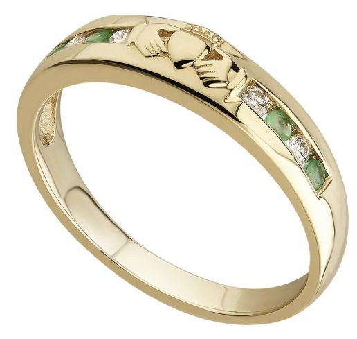 Claddagh Eternity Ring set with Diamonds and Emeralds