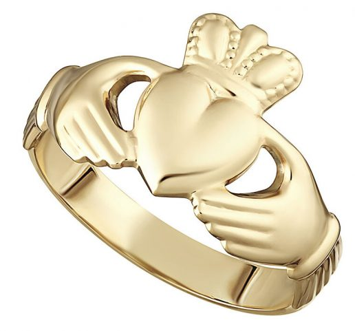 14k Yellow Gold Hollow Back Maids Claddagh Ring