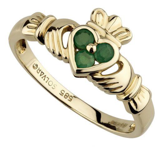 Yellow Gold Claddagh Emerald Set