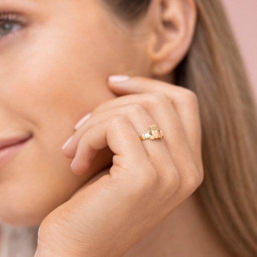 Dainty Gold Claddagh Ring