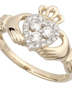 Yellow Gold Diamond Heart Claddagh Ring