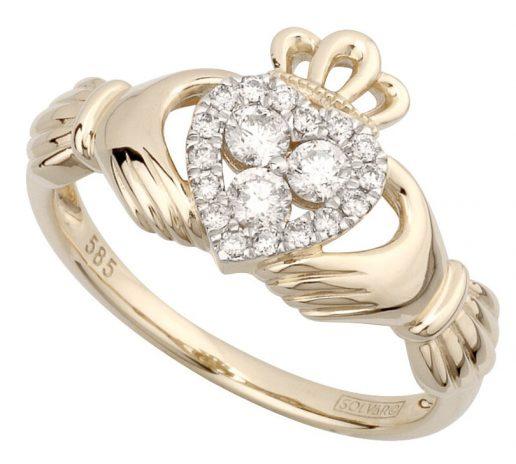 Yellow Gold Diamond Heart Claddagh Ring