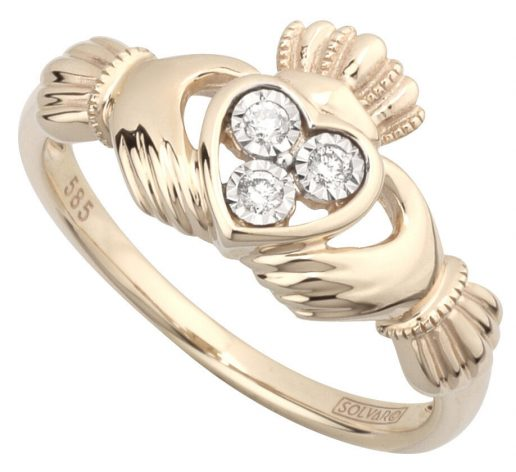 14K Yellow Gold Claddagh Ring with Diamond Heart