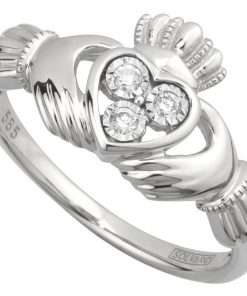 14K White Gold Claddagh Ring with Diamond Heart