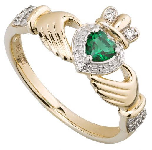 Yellow Gold Diamond and Emerald Claddagh Ring