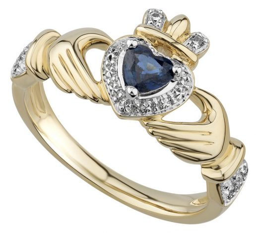 14K Yellow Gold Diamond and Sapphire Claddagh Ring
