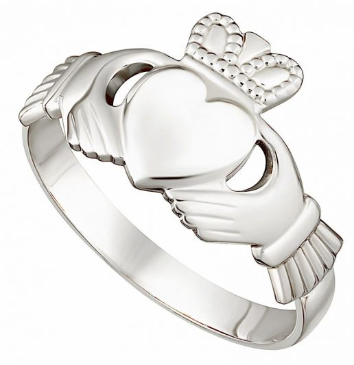 White Gold Ladies Classic Claddagh Ring