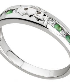 White Gold Claddagh Eternity Ring set with Diamonds and Emeralds