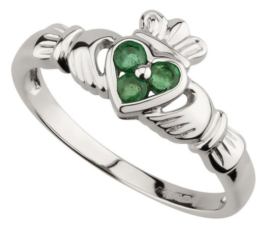 White Gold Emerald Heart Claddagh Ring