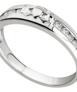 White Gold Diamond Claddagh Eternity Ring
