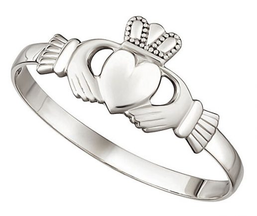 White Gold Ladies Mini Claddagh Ring
